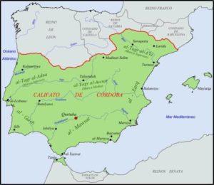 Mapa del califato de Córdoba año 1.000