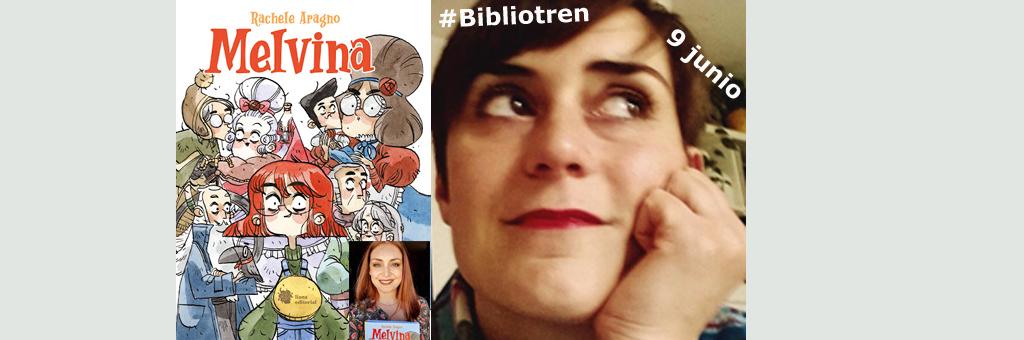 Marta Tutone en el Bibliotren con Melvina