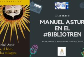 Manuel Astur en el Bibliotren