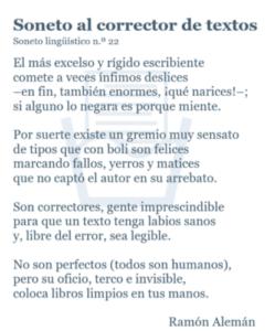 Soneto al corrector de textos de Ramón Alemán