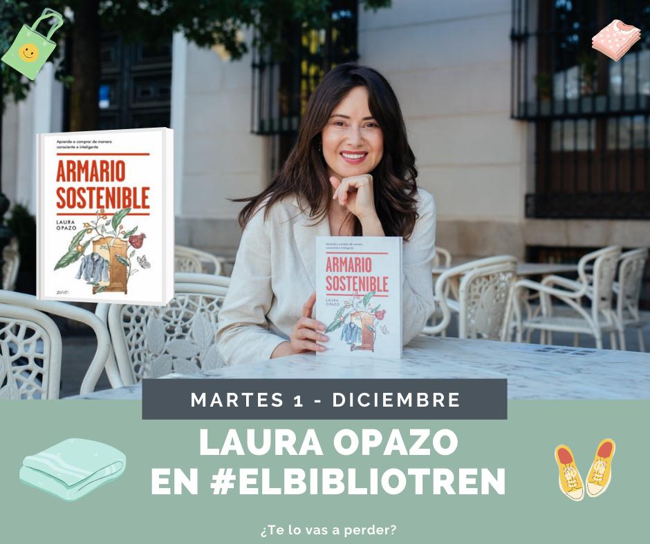 Laura Opazo en el Bibliotren con Armario sostenible